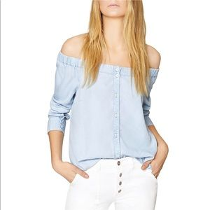 Anthro Sanctuary chambray off the shoulder top